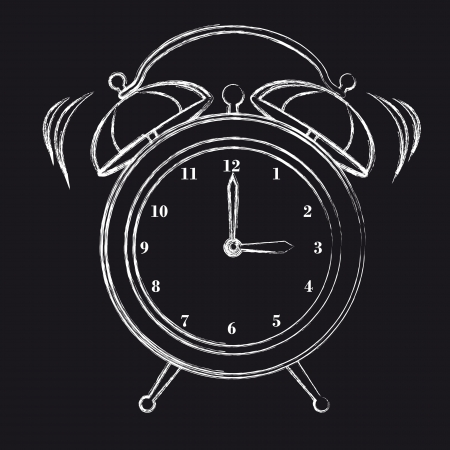 black and white grunge clock alarm, background. vector illustration