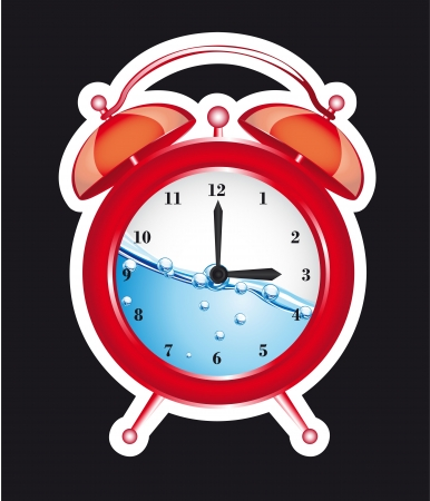 red clock alarm isolated over black background. vector illustration Vector
