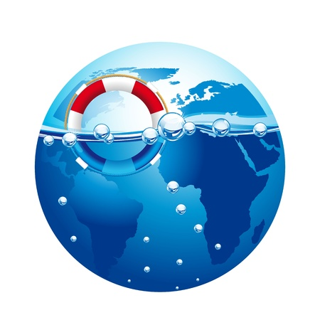 life guard: life guard over blue planet isolated over white background. vector