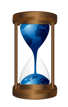 hourglass with blue planet isolated over white background. vector Stock Vector - 13599894