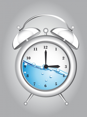 clock alarm with water over gray background. vector illustration Vector