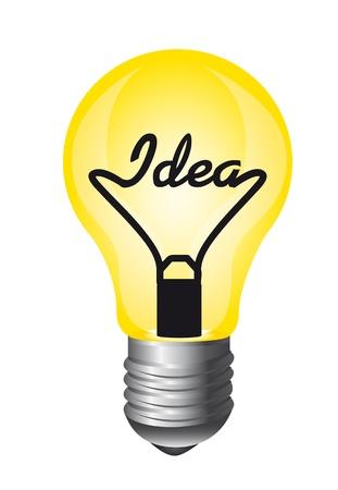 lightbulb idea: lampadina gialla isolato su sfondo bianco, idea. vettore