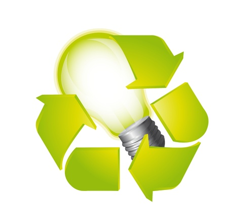 light bulb with recycle sign isolated over white background. vector Stock Vector - 13599614