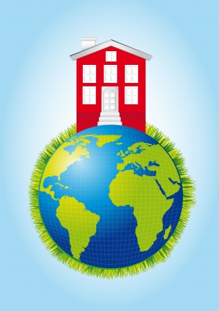 house over planet with grass over blue background. vector Stock Vector - 13600124