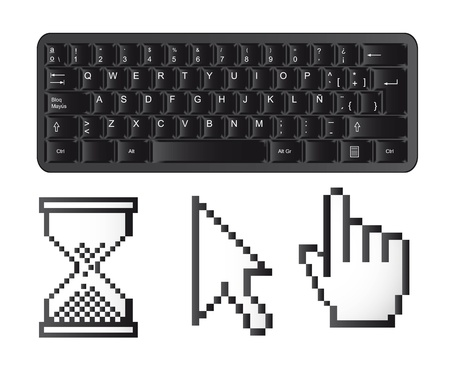 black keyboard with cursors isolated over white background. vector Stock Vector - 13599907