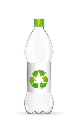reciclar: plastic bottle with recycle sign over white background. vector Ilustração