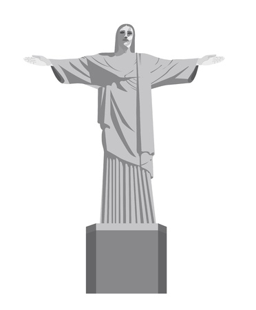the redeemer: christ redeemer isolated over white background. vector illustration