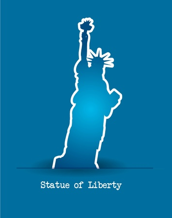 statue of liberty over blue background. vector illustration Vector