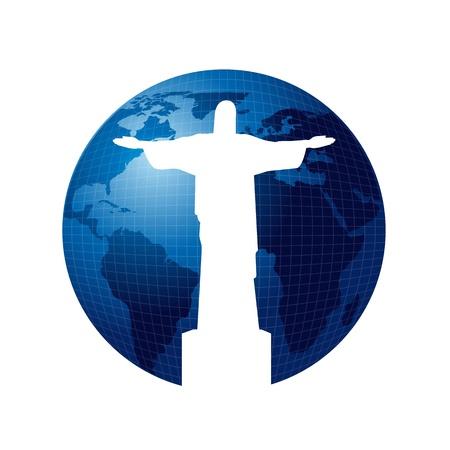 Cristo Redentor sobre el planeta azul aislado sobre fondo blanco. vector