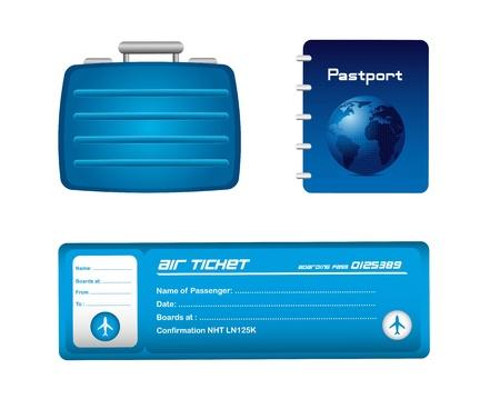 billets d avion: ic�nes de voyage bleu isol� sur fond blanc. illustration vectorielle