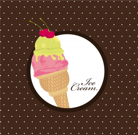 ice cream over brown background. vector illustration Illustration