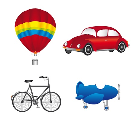 hot balloon, car with plane and bike, trasnport icons. vector Vector