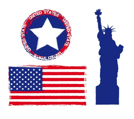statue of liberty with seal and flag, united states. vector Vector