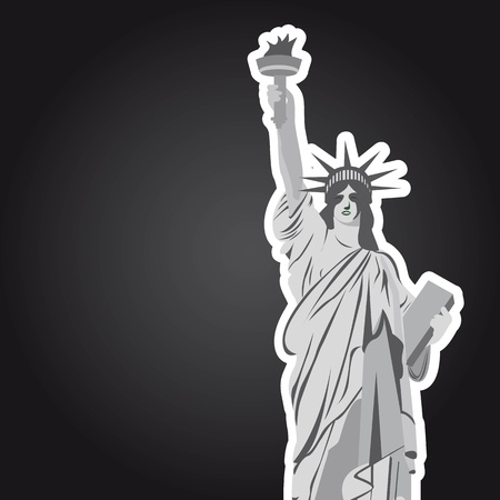 statue of liberty with space for copy over black background. vector Vector