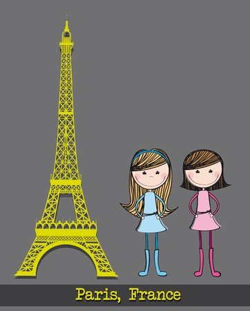 eiffel tower with two girls over gray background. vector illustration Vector