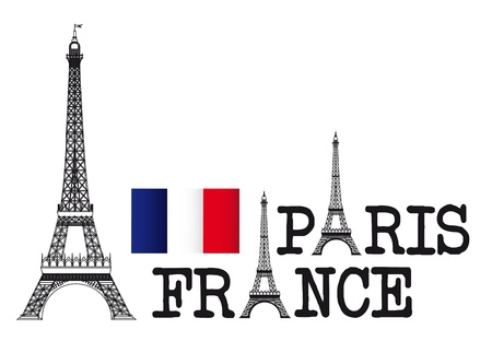 eifel: eiffel tower with paris and france text over white background. vector