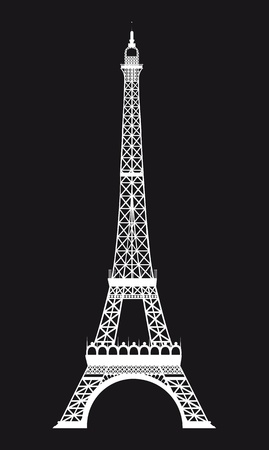 tower tall: white eiffel tower over black background. vector illustration Illustration