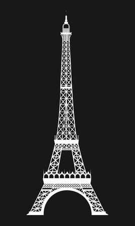 eifel: white eiffel tower over black background. vector illustration Illustration