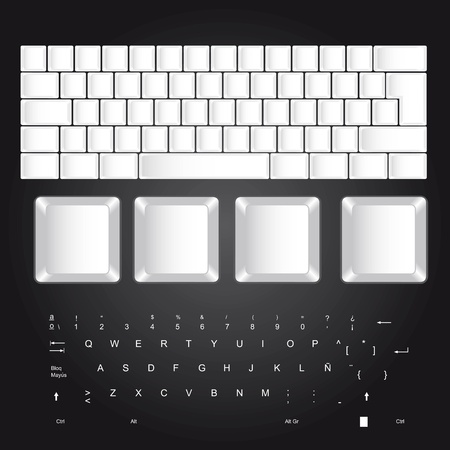 white blank keyboard over black background. vector