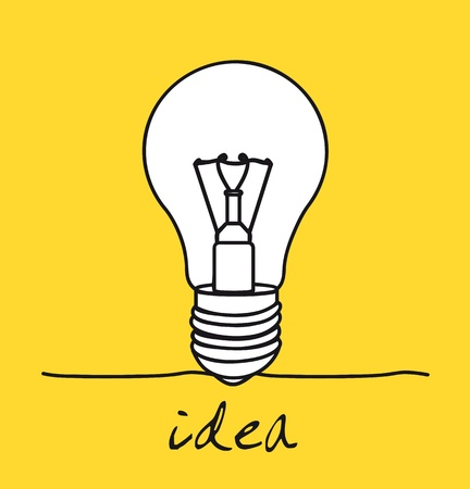 flash light: light bulb over yellow background, idea. vector illustration