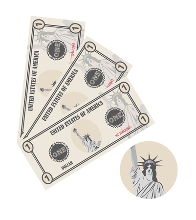 fake money: bills with statue of liberty isolated over white background. vector