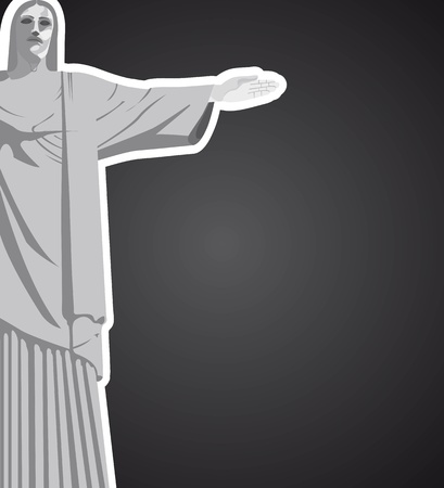 the redeemer: christ redeemer with space for copy over black background. vector