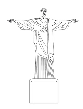 christ redeemer isolated over white background. vector illustration