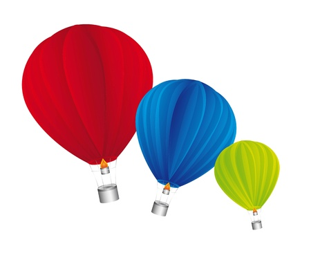hot air balloon isolated over white background. vector illustrartion Vector