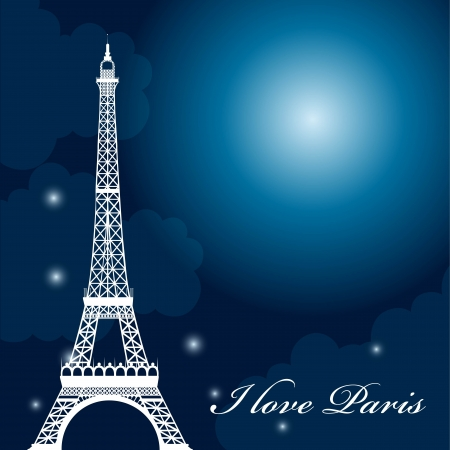 tour eiffel: eiffel tower over night with stars and moon. vector illustration