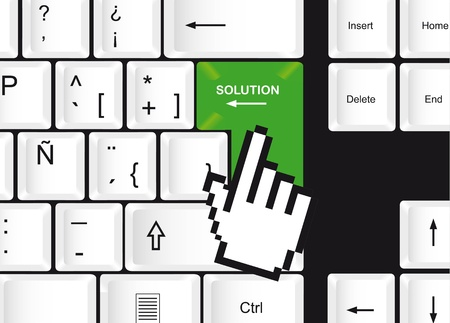 keyboard with computer key with solution and cursor hand. vector Stock Vector - 13599580