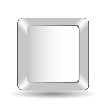 input device: white blank computer key with shadow. vector illustration Illustration