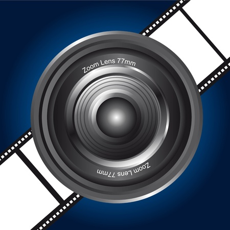 black camera lens over film stripe background. vector illustration Vector
