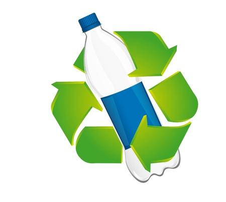 ciclo del agua: Recicle la muestra con una botella de plástico aisladas sobre fondo blanco. vector