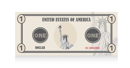 fake money: bill with statue of liberty with shadow. vector illustration Illustration