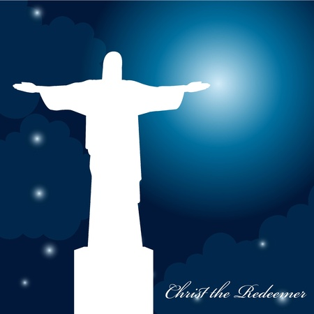 silhouette christ redeemer over beautiful night with stars and moon. vector