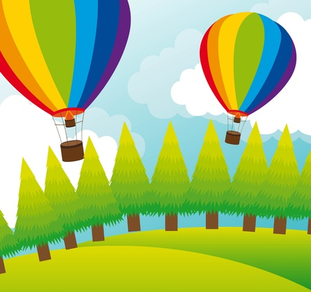 aeronautical: cute landscape with hot air balloons and trees. vector illustration Illustration