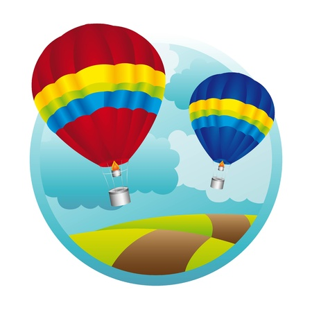 hot air balloons over mountaings background. vector illustration Vector