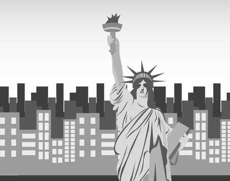 statue of liberty over city background. vector illustration Vector