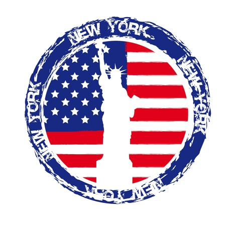 american cities: new york seal with statue of liberty isolated. vector illustration