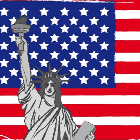 statue of liberty over united states flag, background. vector  Vector