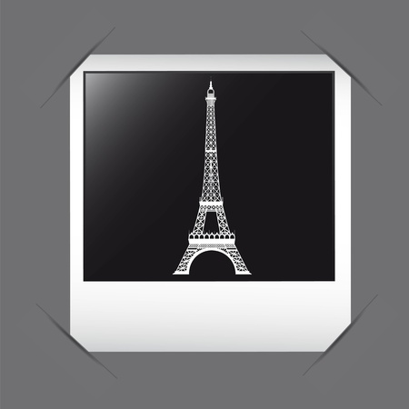 white silhoutte eiffel tower over photo frame. vector illustration Vector