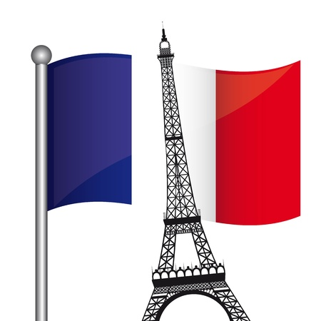 eiffel tower over france flag isolated over white background. vector Vector