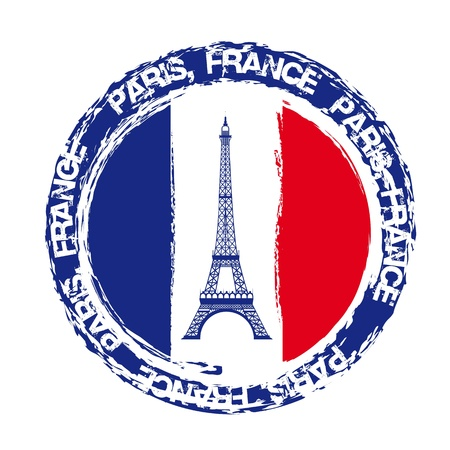steel beam: france seal with eiffel tower isolated over white background. vector