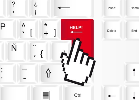 keyboard with help computer key and cursor hand. vector Stock Vector - 13599571