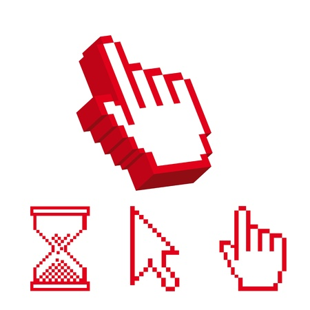 3d cursor: red cursor and 3d cursor hands isolated over white background. vector