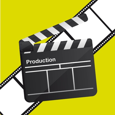 clapper board over film stripe over green background. vector Vector