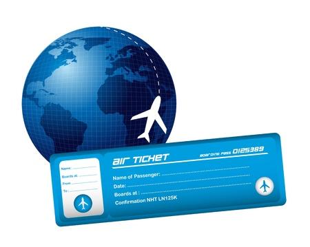 biglietto aereo con il pianeta e il piano isolato su sfondo bianco. vettore Vettoriali