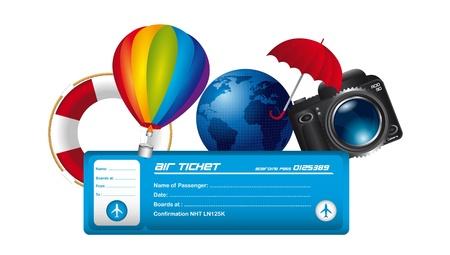 los billetes de avión con elementos de verano aisladas sobre fondo blanco. vector Ilustración de vector