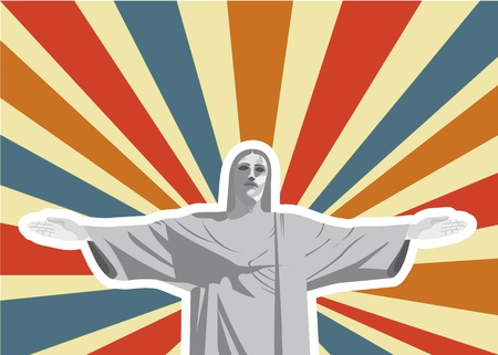 christ redeemer over vintage background. vector illustration Stock Photo - 13599663