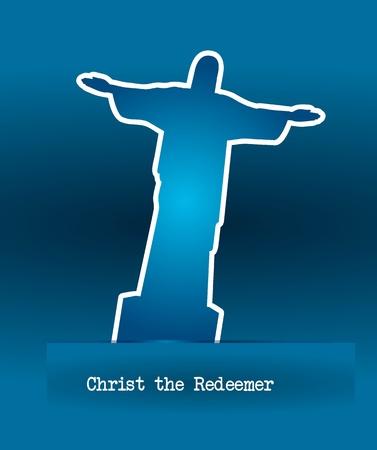 christ redeemer stickers over blue background. vector illustration